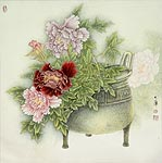 Peony Flower Chinese Painting.